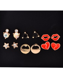 Fashion Gold Alloy Pearl Shell Arrow Lightning Stud Earrings 6 Pairs