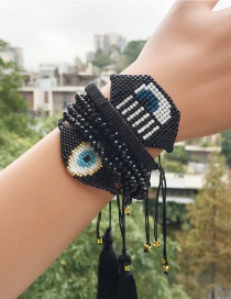 Fashion Black Set Bracelet Rice Beads Braided Eyes