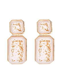 Fashion White Alloy Resin Square Earrings