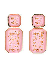 Fashion Pink Alloy Resin Square Earrings