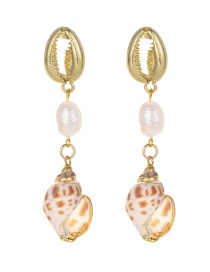 Fashion Gold Alloy Pearl Shell Conch Earrings