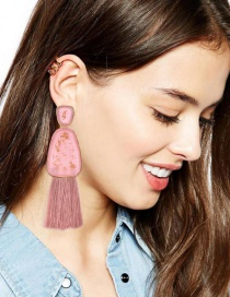 Fashion Leather Pink Alloy Resin Geometry Tassel Earrings