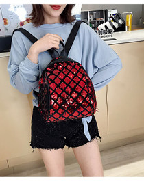 Fashion Red Sequined Square Backpack Large