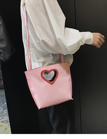 Fashion Pink Peach Heart Billiard Shoulder Slung Bucket Bag