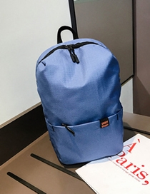 Fashion Ash Blue Pure Color Decorated Backpack