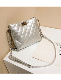 Fashion Silver Buckle Decorated Pure Color Shoulder Bag