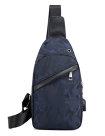 Fashion Blue Camouflage Solid Color Soft Face Pu Single Shoulder Messenger Chest Bag