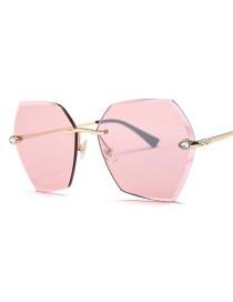 Fashion Gold Frame Pink True Color Cut Sunglasses