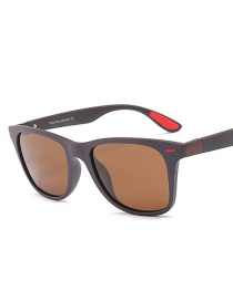 Fashion Dark Brown Box Full Tea Polarized Sunglasses