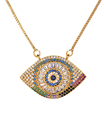Fashion Gold Copper Inlaid Zirconium Big Eye Necklace