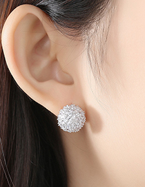 Fashion White Copper Inlaid Zircon Flower Ball Stud Earrings