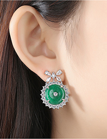Fashion Platinum Round Green Chalcedony Copper Inlay Zircon Female Earrings