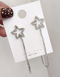 Fashion Silver Star Tassel With Diamond Chain Stud Earrings