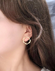Fashion Gold 925 Silver Needle Spiral Geometric Twisted Stud Earrings