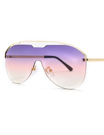 Fashion Purple White Siamese Lens Sunglasses