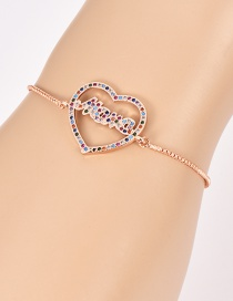 Fashion Rose Gold Copper Inlaid Zircon Letter Mama Love Bracelet
