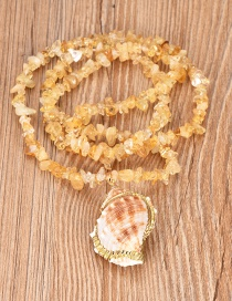 Fashion Yellow Resin Beaded Conch Necklace