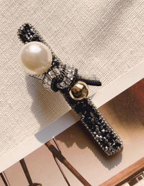 Fashion Black Imitation Pearl Broken Diamond Hair Hair Clip