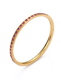 Fashion Red Stainless Steel Inlay Zircon Ring