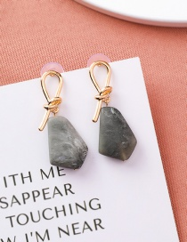 Fashion Gray S925 Silver Needle Knotted Stone Earrings