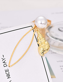 Fashion Gold Pearl Conch Hairpin
