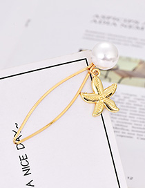 Fashion Gold Pearl Five-pointed Star Hairpin