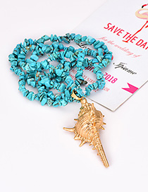 Fashion Blue Natural Crystal Conch Sweater Chain