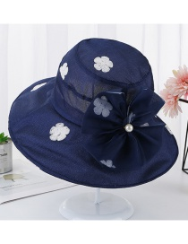 Fashion Navy Plum Embroidery Pearl Fisherman Hat