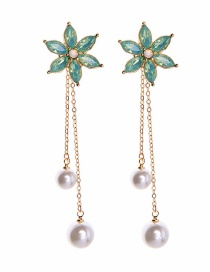 Fashion Blue Flower-studded Pearl Earrings