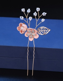 Fashion Pink Two Hairpins Flower Hair Comb