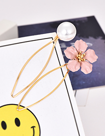 Fashion Pink Alloy Flower Pearl Hair Clip Two-piece