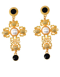 Fashion Gold Imitation Pearl Cross Earrings