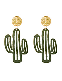 Fashion Green Alloy Cactus Earrings