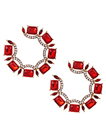 Fashion Red Alloy Diamond Round Earrings