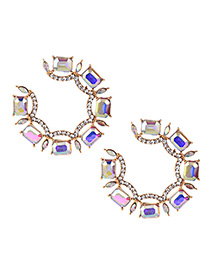 Fashion Ab Color Alloy Diamond Round Earrings