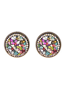 Fashion Color Alloy Resin Round Earrings