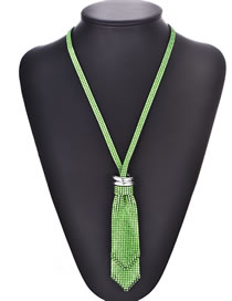 Fashion Green Felt Cloth With Diamond Necklace Bow Tie