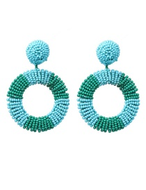 Fashion Blue Geometric Round Rice Earrings