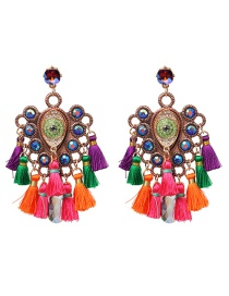 Fashion Dark Color Fringed Alloy Inlaid Acrylic Drill Earrings