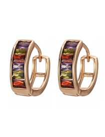 Fashion Gold Copper Inlaid Zircon Ring Earrings
