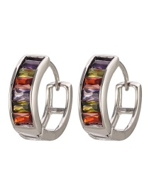 Fashion Silver Copper Inlaid Zircon Ring Earrings