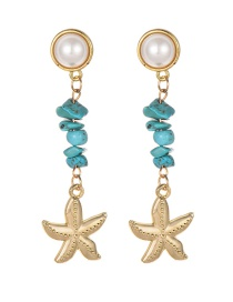 Fashion Gold Alloy Turquoise Starfish Earrings