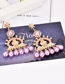 Fashion Purple Alloy Studded Five-pointed Star Pearl Stud Earrings