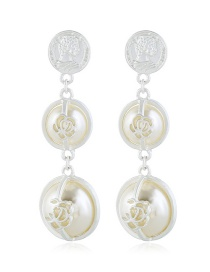 Fashion Silver Alloy Inlaid Pearl Stringed Ring Flower Earrings