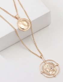 Fashion Gold Coin Portrait Metal Multilayer Necklace