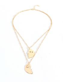 Fashion Gold Moon Shaped Face Contour Necklace Set