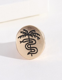 Fashion Round Coconut Tree Crying Face Palm Tree Ring