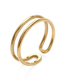 Fashion Gold Adjustable Stainless Steel Double-layer Ring