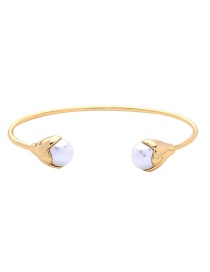 Fashion Gold Fruit Imitation Pearl Inlaid Open Bracelet