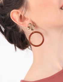 Fashion Brown Electroplated Flower And Diamond Ring Acrylic Earrings